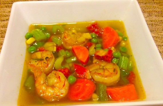 Sautéed Shrimp and Veggie Soup