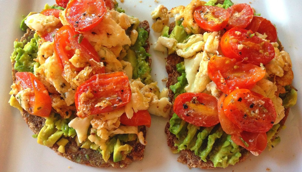 organic eggs with avocado